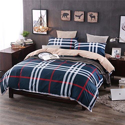 BB.er Reine Baumwolle gestreift Streifen in Europa und in den Vereinigten Staaten Wind Betten Vier Sätze von Bettwäsche Bettbezug Kopfkissenbezug, blau schwarz, 220 x 240 cm -