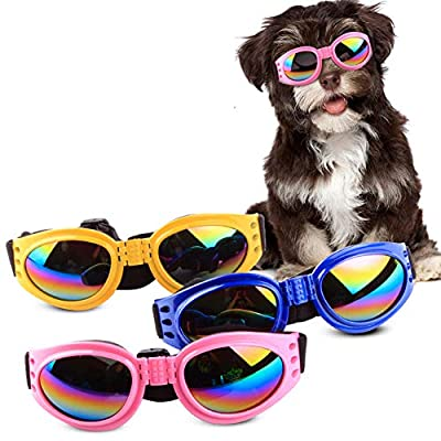 1pc Stylish Fun Pet Sunglasses Shatter-proof Uv Protection Eye Wear Water-proof Dog Goggles With Adjustable Strap For Pet Dog Cats - Random Color by Romote