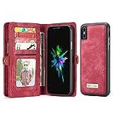 Yuying CaseMe-008 pour IPhone X Couverture Housse en Cuir Flip Horizontale avec Titulaire et Fentes pour Cartes & Zipper Wallet et Cadre Photo TPU + PC Absorption magnétique détachable Retour