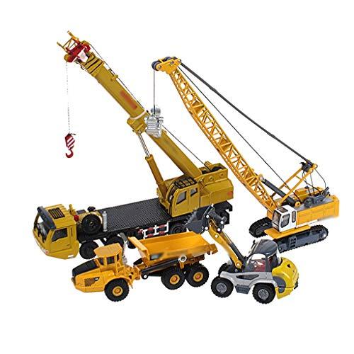 LINGLING-SPIELZEUGE Baufahrzeug Modell Gabelstapler Turmkran-Kipper-Metall-Jungen-Spielzeug 4 Set-Kombination for Kinder zu schicken (Color : Yellow)