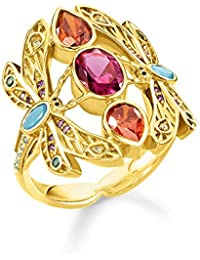 Thomas Sabo TR2228-471-7 Women's Ring Dragonfly 925 Sterling Silver 750 Yellow Gold Gold-Plated Black Enamelled