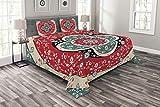 Abakuhaus Türkisch-Muster Tagesdecke Set, Kreise Blooms, Set mit Kissenbezügen luftdurchlässig, für Doppelbetten 220 x 220 cm, Mehrfarbig