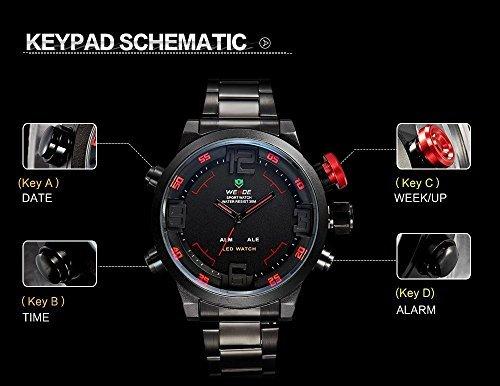 Mudder WEIDE Herren Militär LED Sportlich Quarz Armbanduhr - Rod Taste