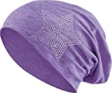 Jersey Baumwolle elastisches Long Slouch Beanie Unisex Herren Damen mit Strass Stern Steinen Mütze Heather in 35 (2) (Heather Purple)