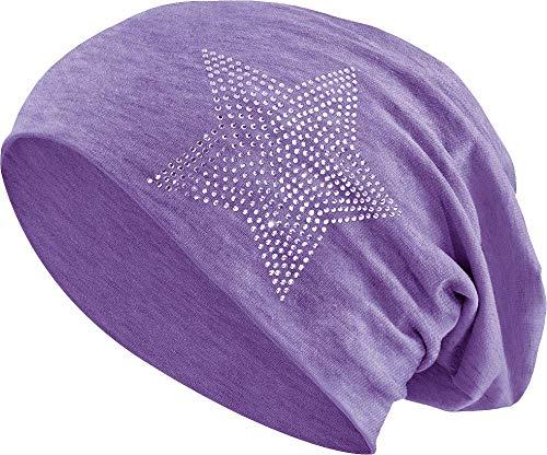Jersey Baumwolle elastisches Long Slouch Beanie Unisex Herren Damen mit Strass Stern Steinen Mütze Heather in 35 (2) (Heather Purple) (Long Beanie Lila)