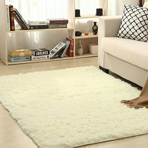 Thee tappeto peloso morbido e antiscivolo da sala da pranzo e da camera da letto (160x120cm, beige)