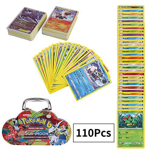 Colfeel 110 Stücke Pokemon Karten, Sack Karten, Sammelkarten, Spiel Karten Pokemon, Sun & Moon Series Burning Shadows