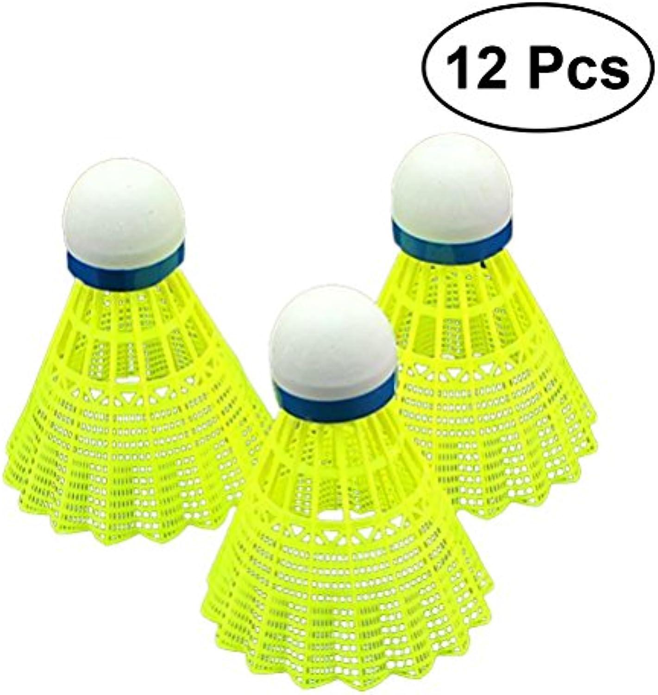 VORCOOL 12PCS Nylon Feather Badminton Deportes de Interior al Aire Libre Entrenamiento Volantes de plástico (Amarillo)
