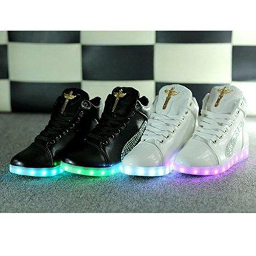 JUNGLEST KAKI Haute Qualité Croix dange LED Chaussures 7 Changements de couleur declairage LED clignotant Unisexe Sne Noir