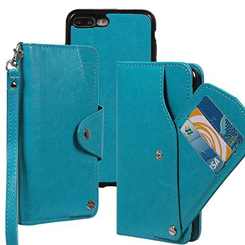 """xhorizon TM MLK [détachable] [séparable] 2 en 1 haut de gamme en cuir double-pli carte magnétique soutien le téléphone Compatible avec l'étui portefeuille avec cordon pour iPhone 7 Plus [5.5""""] avec 9H bleu +9H Glass Tempered Film"""