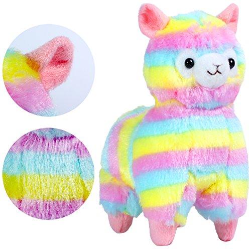 """KOSBON 7\"""" Regenbogen Plüsch Alpaka,niedliches weiches angefülltes Tier-Spielzeug, beste Geschenke für Kinder."""