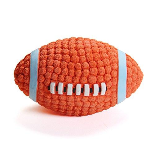 EETOYS Hundespielzeug aus Latex Quietschspielzeug Ball für Hunde, L Rugby