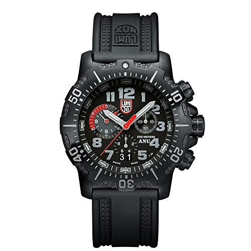 Luminox Authorized for Navy Use (A.N.U.) Chronograph Men's Quartz watch with Black dial featuring LLT Luminox light Technology 45 millimeters Stainless Steel case and Black PU Strap  XS.4241.NV