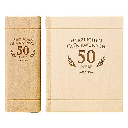 Spardose Buch aus Holz zum 50. Geburtstag mit Gravur - Sparbuch als originelles Geburtstagsgeschenk für Geld - Geldgeschenk-Sparbüchse aus Ahornholz - 13,5 x 16,5 x 6,5 cm