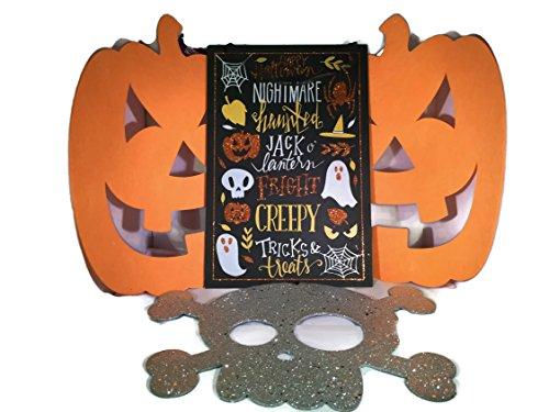 Unbekannt Halloween Deko-Bundle (4) Vier Elemente: Happy Halloween-Zeichen, (2) Filz Jack O 'Lantern Aussparungen, Silber Glitzer Totenkopf und Kreuz Knochen Cut Out (Glitzer-zeichen Happy Halloween)