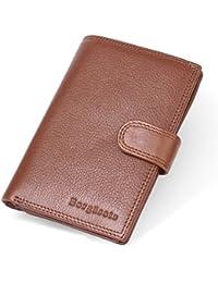 Borgasets pasaporte RFID Holder bloqueo RFID de piel tipo cartera pasaporte Funda