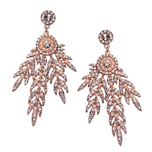 BABEYOND Damen Flapper Ohrringe 1920s Retro Stil Blatt Medaillon Muster Dangle Ohrringe Inspiriert von Great Gatsby Damen Kostüm Accessoires Ohrringe (Rose Gold)