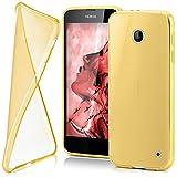 moex Nokia Lumia 630 | Hülle Silikon Transparent Gold Clear Back-Cover TPU Schutzhülle Dünn Handyhülle für Nokia Lumia 630/635 Dual SIM Case Ultra-Slim Silikonhülle Rückseite