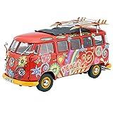 Schuco 450028300 VW T1 Samba Hippie - Escala 1:18 para Furgoneta con Pistas de Techo y Tablas de Surf