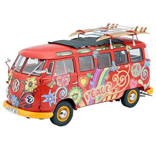 Schuco 450028300 VW T1 Samba Hippie - Scale 1: 18 for Van with Roof Tracks and Surfboards