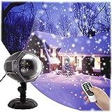 GESIMEI Proyector Navidad LED Nieve Luz del Proyector con Control Remoto Impermeable Iluminación de Jardín Lámpara de Proyección para Fiesta Boda Celebraciones Pared Decoración Exterior Interior