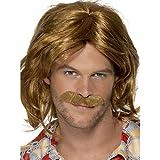 Smiffy's 70's Super Trouper Wig and Moustache - Brown