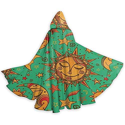 Celestial Pattern Tribal Inspirations Adult Tunika Hooded Knight Halloween Mantel Robe Kostüm Weihnachten, 59 Zoll (150,40 (Kostüm Inspiration)