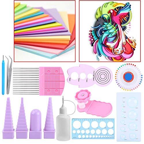 Quilling Kits für Anfänger, 11in 1Papier Quilling Werkzeug Supplies DIY Quilling Art-Crimper Kamm Lineal Pins Bordüre Buddy Set -