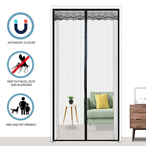 Diyife® Fliegengitter Magnetvorhang, verhindern Sie Bugs und Moskitos, Toddler & Pet Friendly mit Heavy Duty Mesh Vorhang und Full Stoffpaste - 90x210cm
