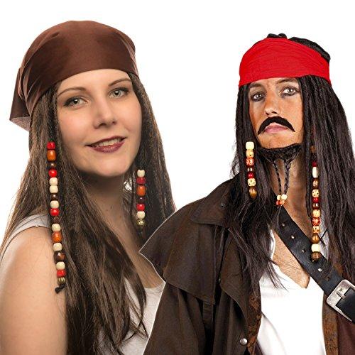 Jack Kind Sparrow Kostüme (Piraten Perücke Seeräuber- mit Bandana, Perlen und Charms (Pirat Dunkelbraun - Kopftuch)