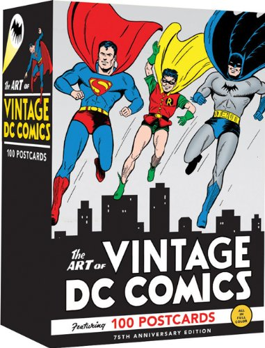 Celebrating the 75th Anniversary of DC Comics, these 100 unique postcards feature the incredible art of DC's comic book covers from the 1930s through the 1980's.