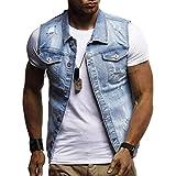 Fuxitoggo Ausverkauf Herren Herbst Winter Destroyed Vintage Jeansjacke Weste Bluse Weste Top (Farbe : Blau, Größe : CN 3XLUK 22)