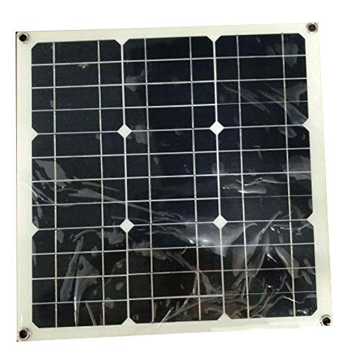 Tipo: paneles solares laminados. Potencia máxima: 30 W. Número de pilas: 36 Dimensiones: 420 x 420 x 3 mm. Peso de referencia: 0,57 kg.