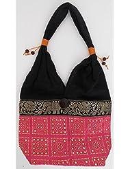 Sac bandoulière, sac besace soie Thai Rose motifs dorés