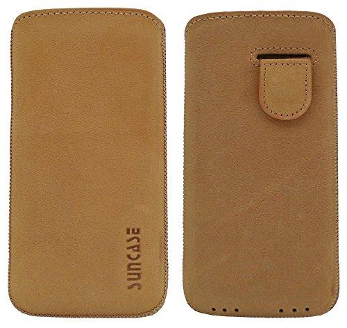 Suncase Étui en cuir pour Téléphone Portable iPhone se étui en cuir Étui de protection Coque de protection antik-camel