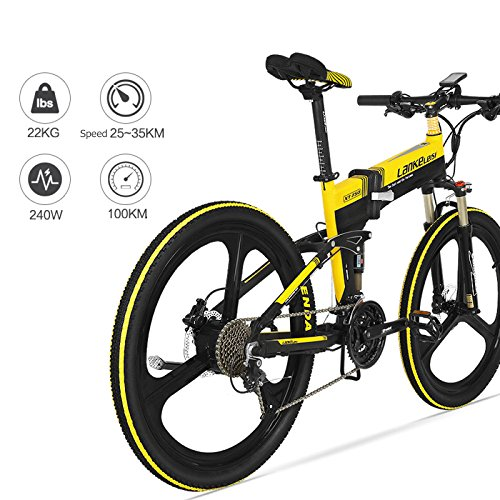 "51P0PK5j7lL. SS500  - GTYW Electric Folding Bicycle Mountain Bicycle Blue Kress Electric Bicycle 26"" Inch Shimano 27 Speed Oil Dish Panasonic Lithium Five Gear Booster Electric Vehicle"
