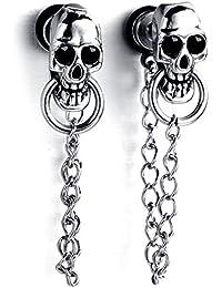 mendino Hombre Mujer Calavera Cadena de plata gota de gótico Dangle Pendientes de acero inoxidable con regalo pouth