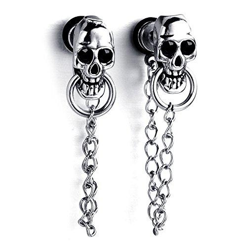 Pendientes con motivo de calavera y cadena, estilo gótico, acero...
