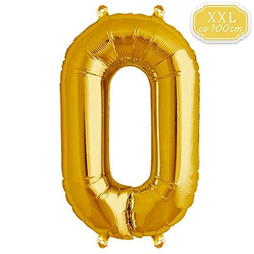 FUNXGO XXL Globos Número , Globo de Helio Gigante Party Festival Decoraciones Aniversario Aniversario Jumbo [0-9] (Dorado [ 0 ])