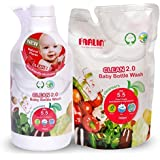 Combo Pack Of Farlin Eco-Friendly Liquid Cleanser 2.0 For Baby Bottles, Accessories, Fruits And Vegetables 700ml Bottle With Refill Pack 700ml
