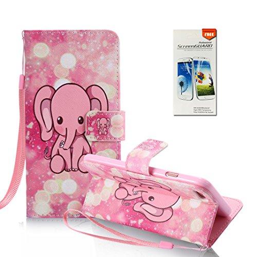iPhone 7 Hülle, OuDu Prägung Muster Hülle Blumen Schmetterling Etui für iPhone 7 PU Leder Handyhülle Klapp Buch-Stil Ledertasche Einzigartige Entwurf Tasche Kompletter Schutzhülle Flip Wallet Case Flo Rosafarbener Elefant