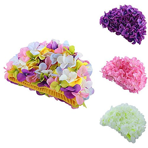Damen Badekappe - Mädchen Badekappe - Blumendesign zarte personalisierte dreidimensionale Blütenblüten-Badekappe für lange Haare (Blumen-Badekappe), 634744310479, gelb