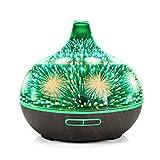 JIESIQ - Tiempo de Cristal en 3D luz Nocturna Colorida Control Remoto humidificador de Grano de Madera hogar Creativo aromaterapia máquina 400 ml, Flor de Cerezo