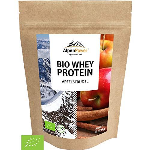 ALPENPOWER | BIO WHEY Protein Apfelstrudel | Ohne Zusatzstoffe | 100% natürliche Zutaten | 7 Sorten | Bio-Milch aus Bayern und Österreich | Hochwertiges Eiweiß | Low Carb | 500 g -