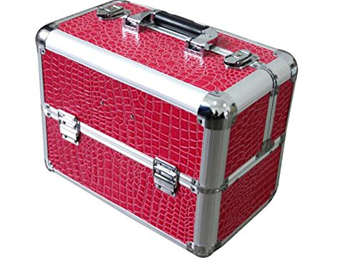 XUEXUANZHU Bagages En Aluminium Cosmétiques Cas Grand Sac à Cosmétiques Grande Boîte à Bijoux Sacs à Main Cosmétiques,Red-35.5*21*27cm