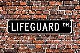 Fhdang Decor Lifeguard, Lifeguard Geschenk, Lifeguard Zeichen, Schwimmbad Mitarbeiter, Lifesaver, Beach Worker, Custom Street, Metall Schild, 10,2x 45,7cm