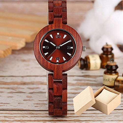 QMTFC Wooden Watches for Women, Unique Brand, Small Pretty Quartz Watch Case, Wooden Wristwatch for Women, Environmentally Friendly Watch,Watch with Box
