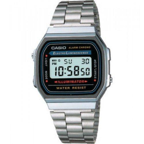 CASIO A168WA-1A - Montre digitale unisex avec bracelet en acier inoxydable