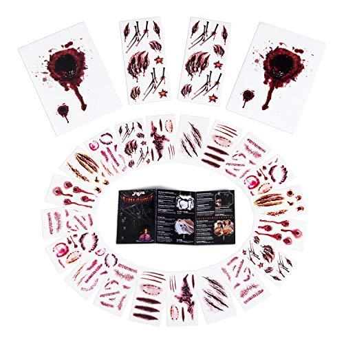 Joyjoz Halloween Tattoo Zombie Kostüm Herren Damen und Kinder, 24 Stücke Wasserdicht Schminke Narben für Halloween Deko Zombies Vampir Cosplay Halloween Party Accessoires Prop Dekorationen Aufkleber