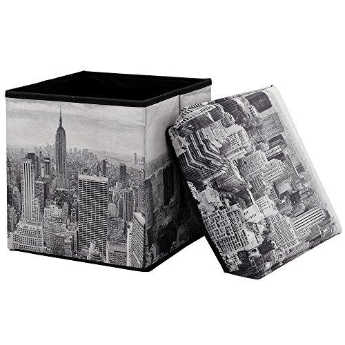 """[en.casa] pouf pieghevole contenitore (30 x 30 x 30 cm) - modello """"new york"""""""